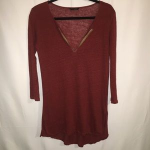 MASSIMO DUTTI | HIGH -LOW LONG SLEEVE TOP